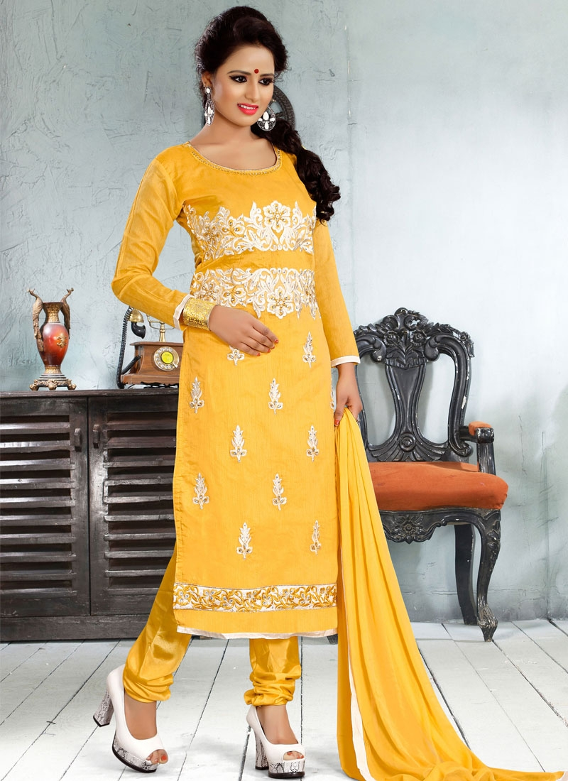 Sonorous Gold Color Resham Work Churidar Salwar Kameez