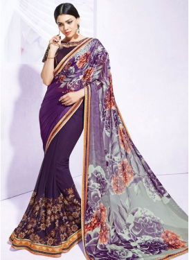 Sonorous Lace And Stone Work Net Party Wear Saree