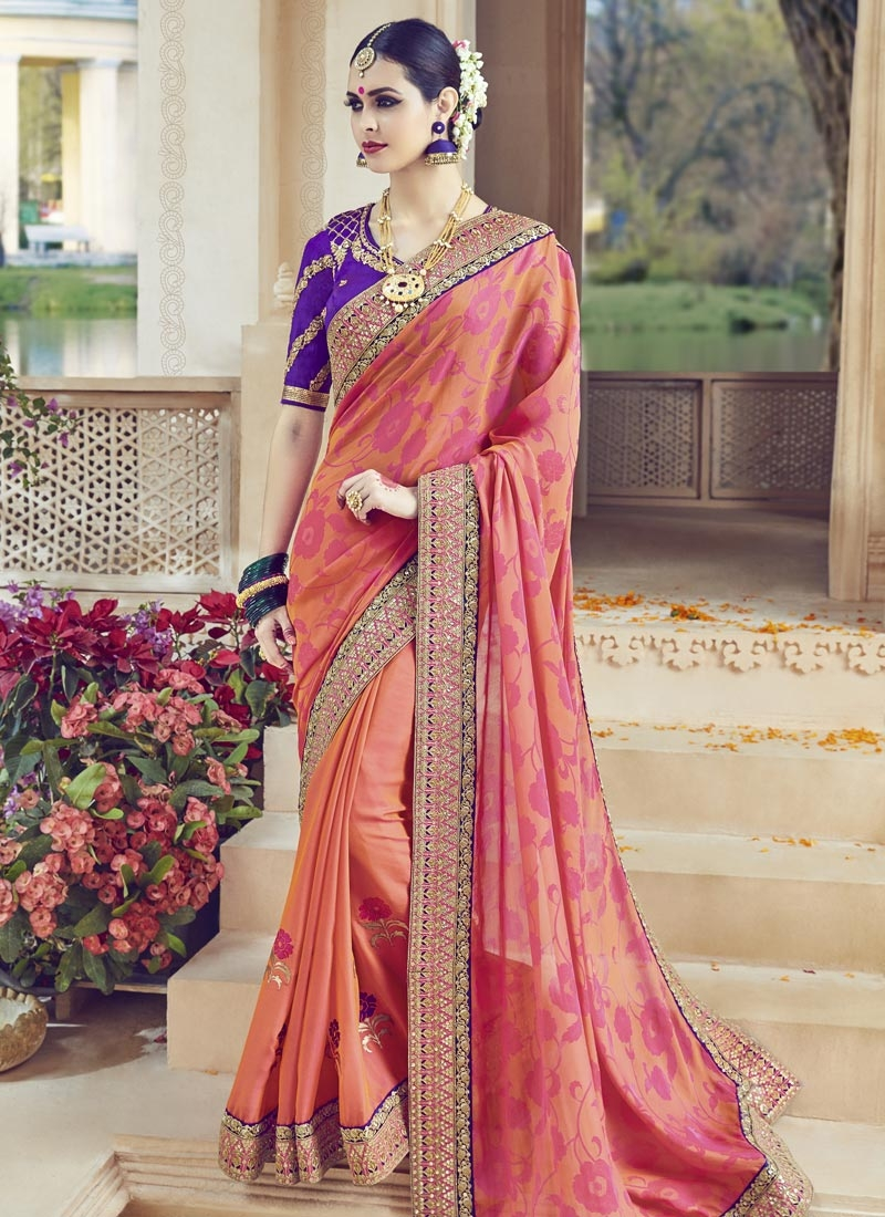 Sonorous Lace Work Trendy Saree
