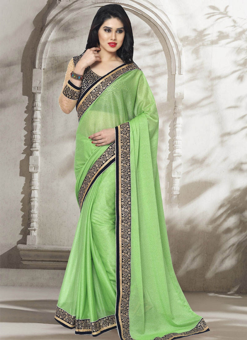 Sonorous Lycra Resham Work Party Wear Saree