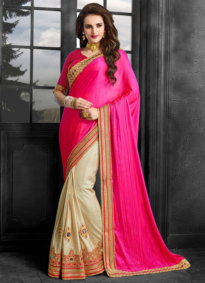 Sonorous Mirror And Booti Work Half N Half Wedding Saree