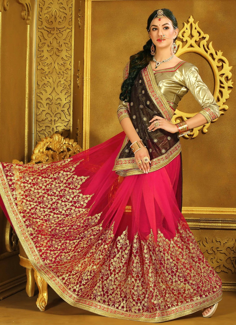 Sonorous Net Resham Work Half N Half Wedding Saree