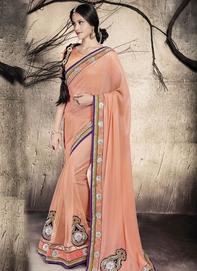 Sonorous Patch Border And Booti Work Party Wear Saree
