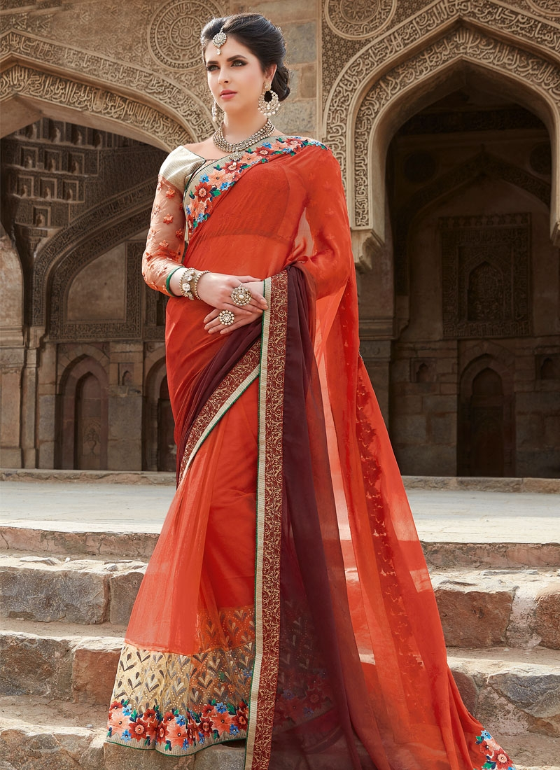 Sonorous Patch Border Work Net Designer Saree