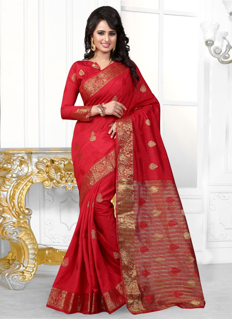 Sonorous Red Color Party Wear Saree