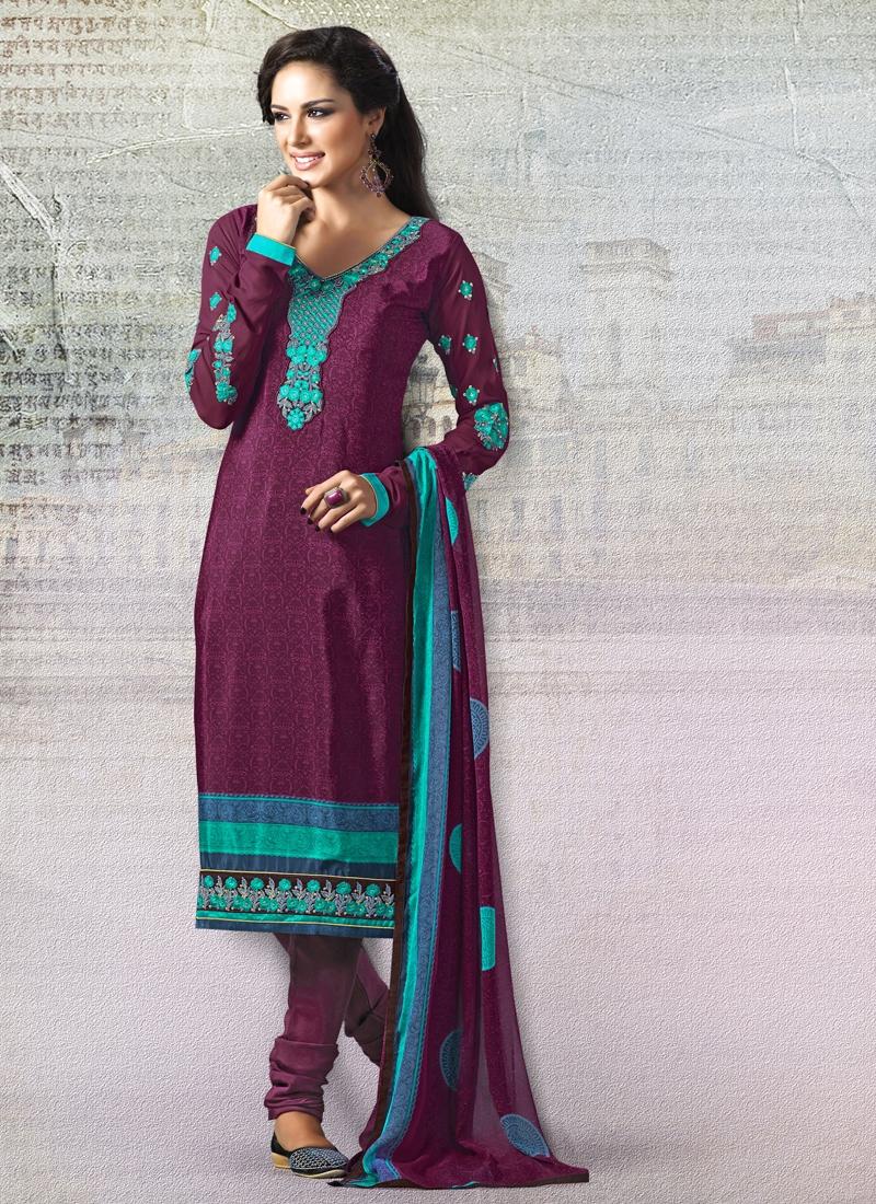 Sonorous Resham Work Crepe Silk Churidar Salwar Suit
