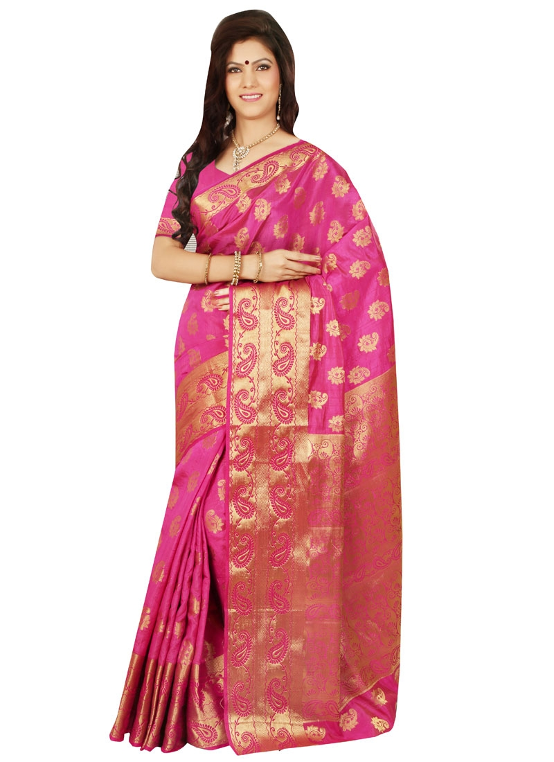 Sonorous Rose Pink Color Party Wear Saree