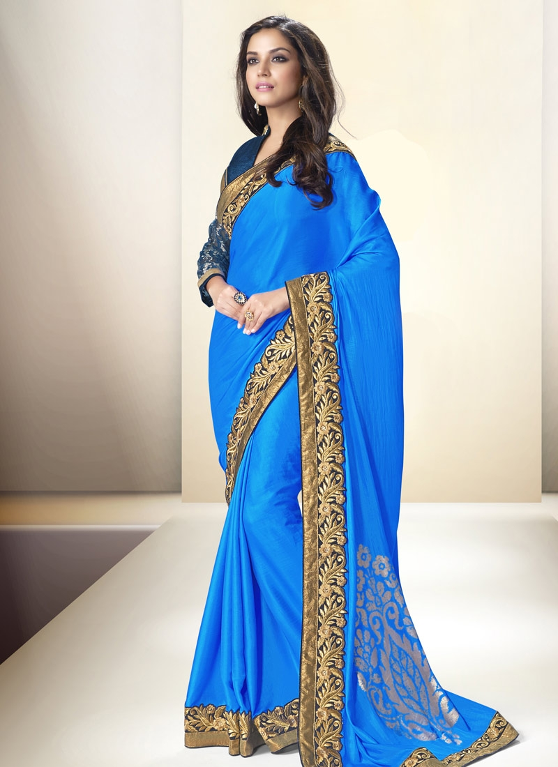 Sonorous Satin And Silk Blue Color Party Wear Saree