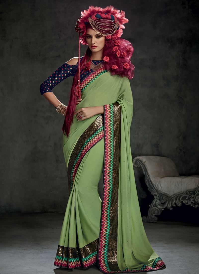 Sonorous Sequins And Stone Work Party Wear Saree