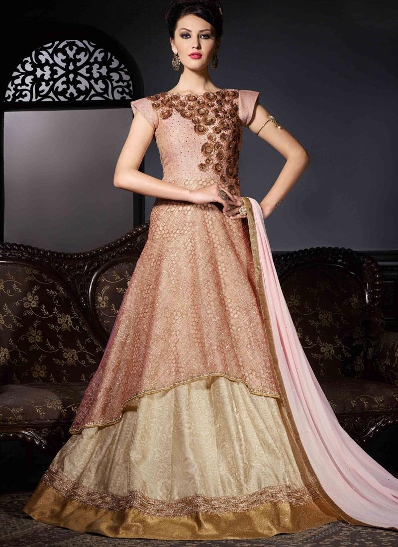 Sonorous Sequins Work Bhagalpuri Silk Floor Length Designer Suit