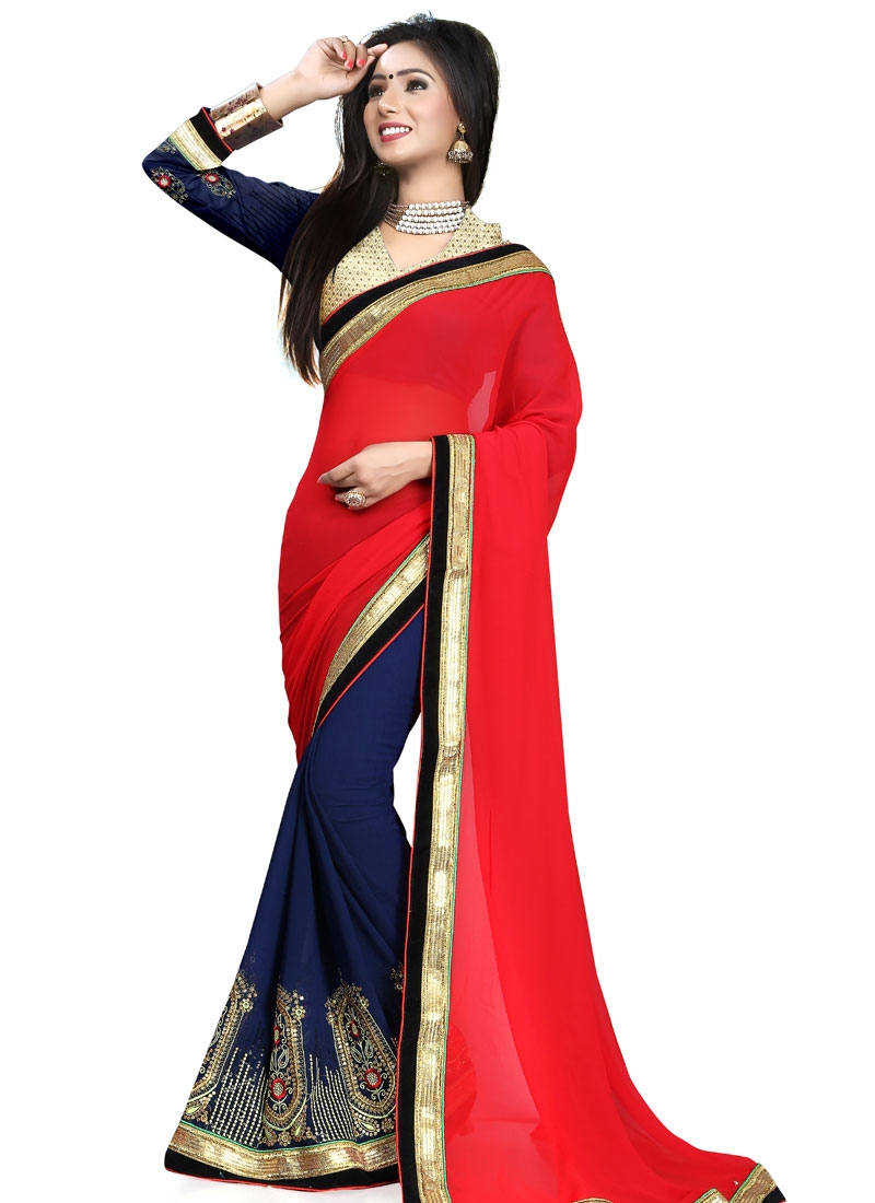 Sonorous Sequins Work Faux Georgette Half N Half Party Wear Saree