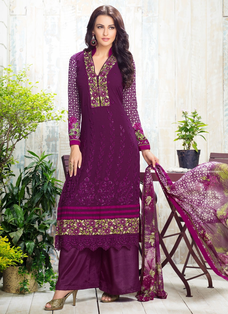 Sonorous Sequins Work Palazzo Style Pakistani Salwar Suit