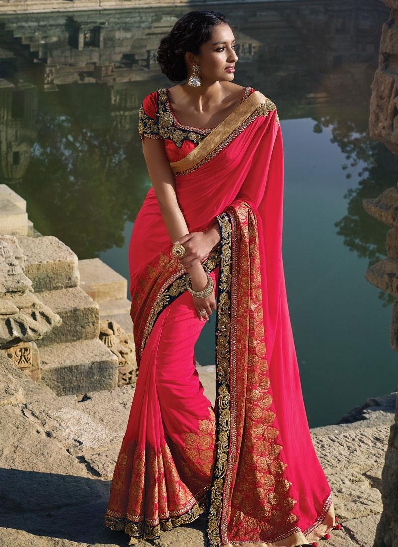 Sonorous Silk Stone Work Designer Saree