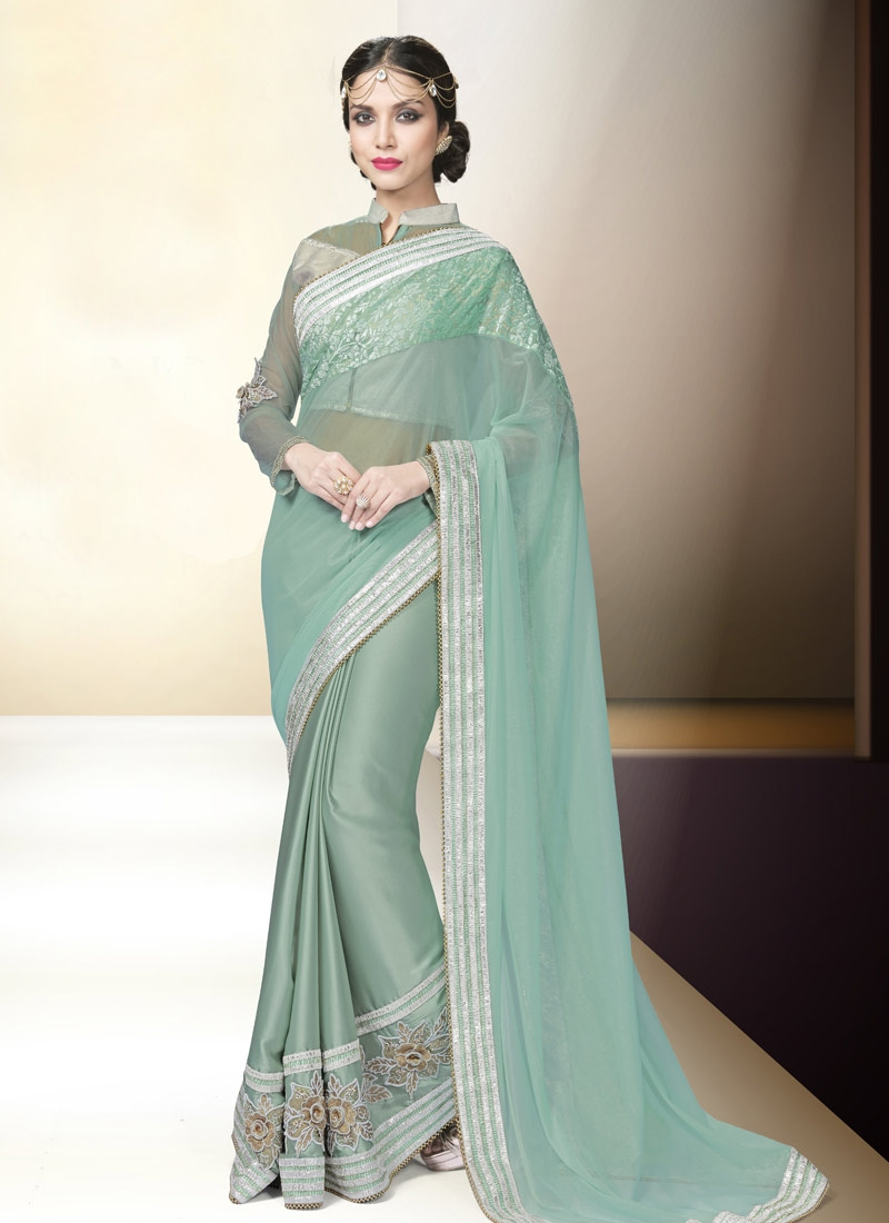 Sophisticated Aqua Blue Color Satin Designer Saree