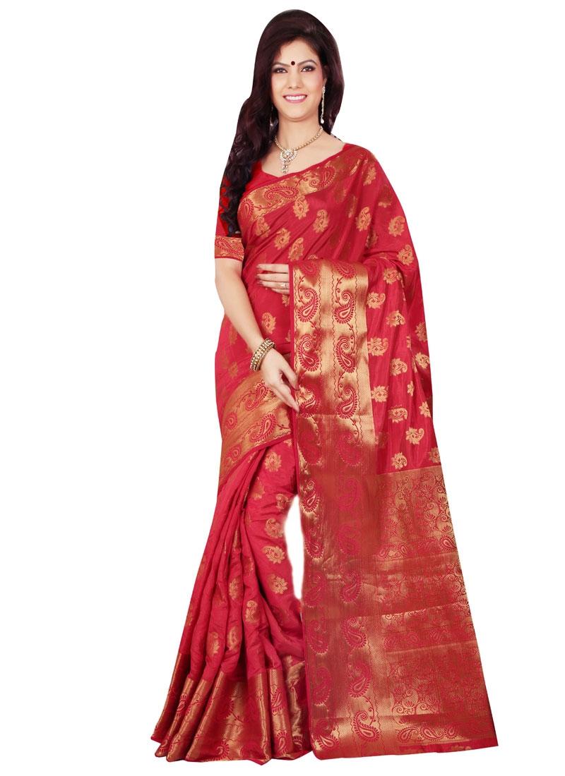 Sophisticated Art Silk Resham Work Party Wear Saree