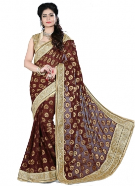Sophisticated Beads And Lace Enhanced Designer Saree
