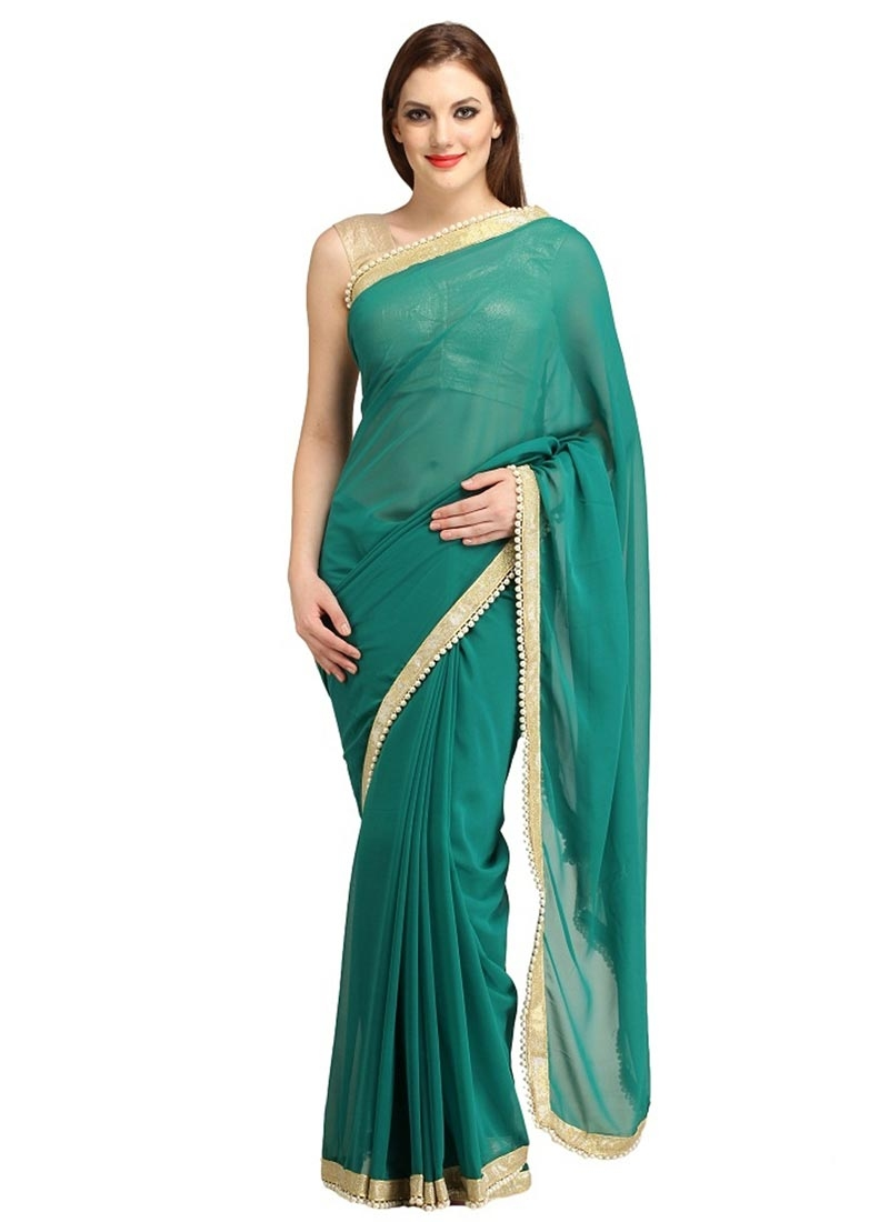 Sophisticated Beads And Lace Work Casual Saree