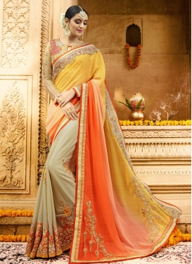 Sophisticated  Beads Work Faux Chiffon Beige and Gold Half N Half Designer Saree