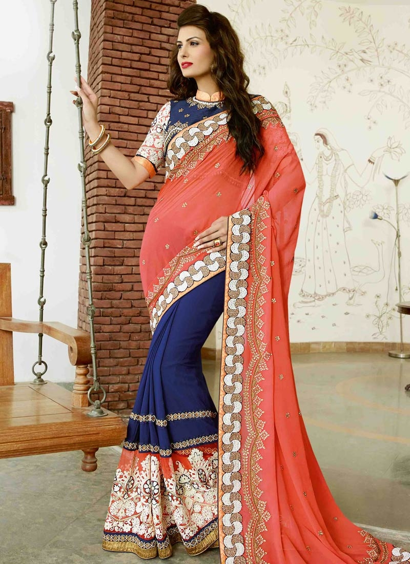 Sophisticated Beads Work Pure Georgette Half N Half Wedding Saree