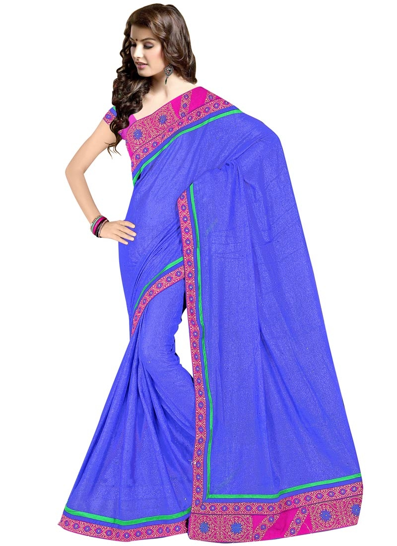 Sophisticated Blue Color Lace Work Party Wear Saree