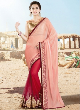 Sophisticated Booti And Lace Work Half N Half Wedding Saree