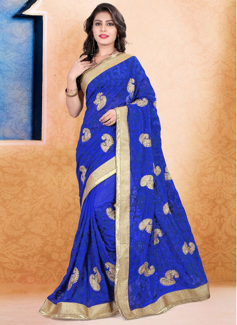 Sophisticated Booti Work Blue Color Wedding Saree