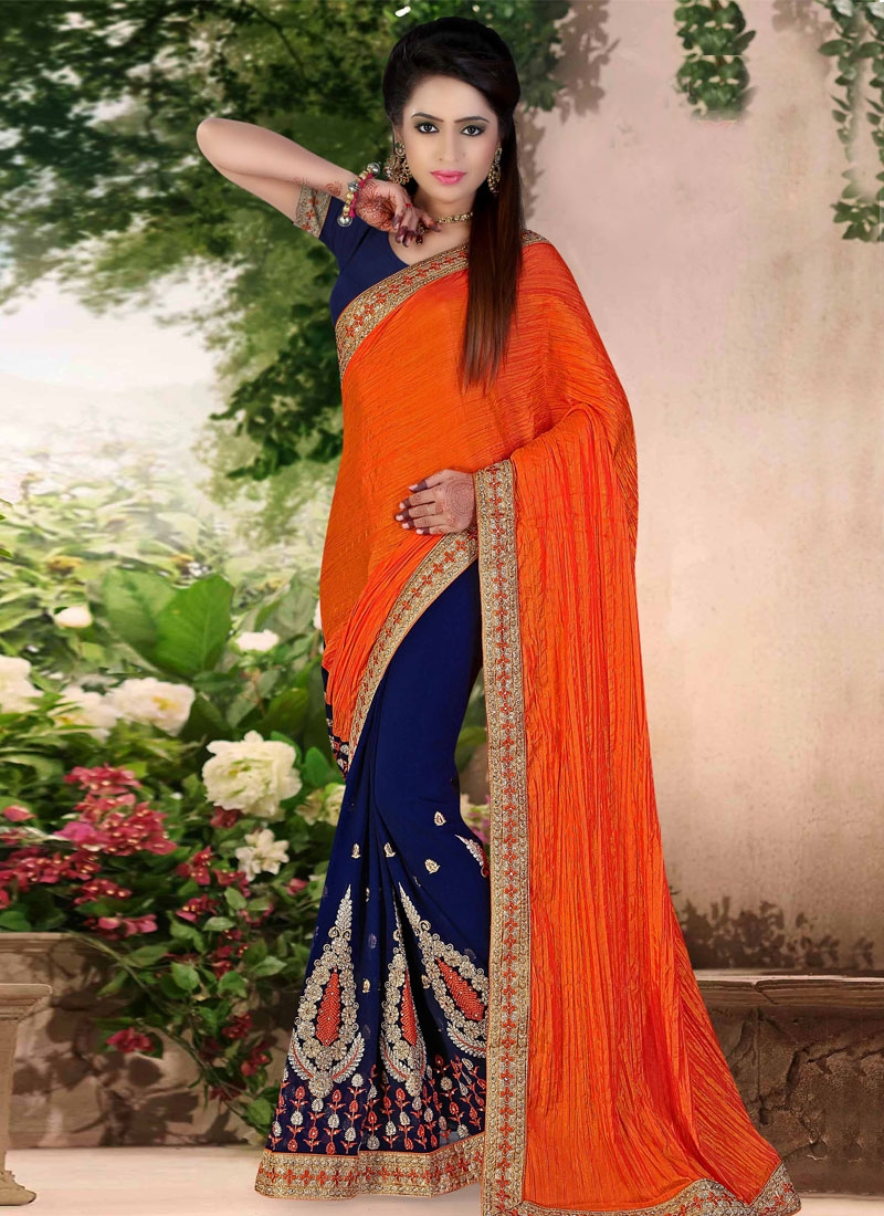 Sophisticated Booti Work Crush Half N Half Wedding Saree