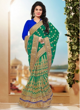 Sophisticated Booti Work Pure Georgette Bridal Saree