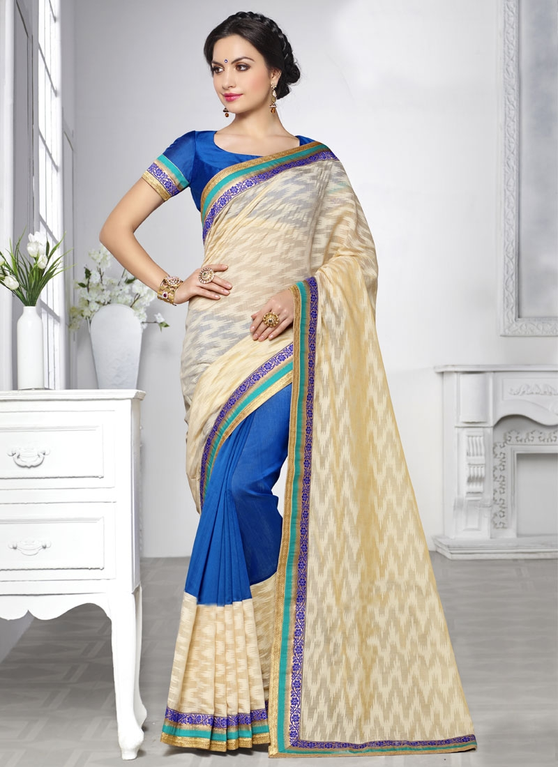 Sophisticated Brasso And Silk Half N Half Party Wear Saree
