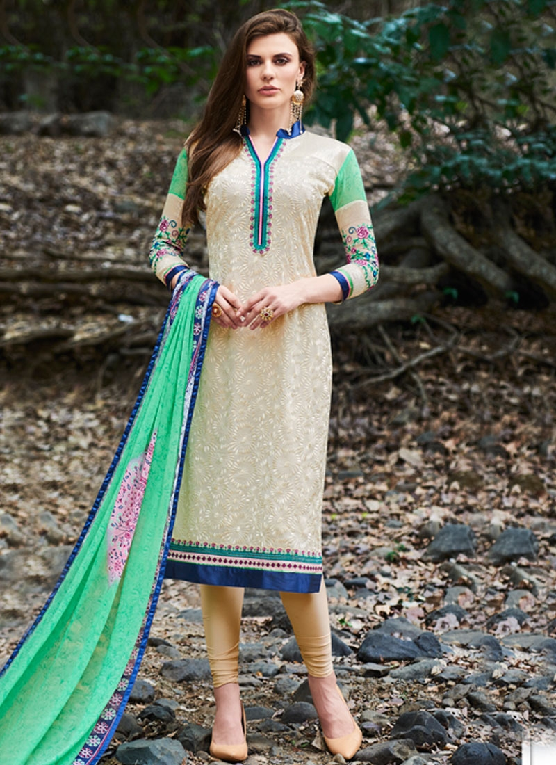 Sophisticated Cream Color Embroidery Work Party Wear Suit