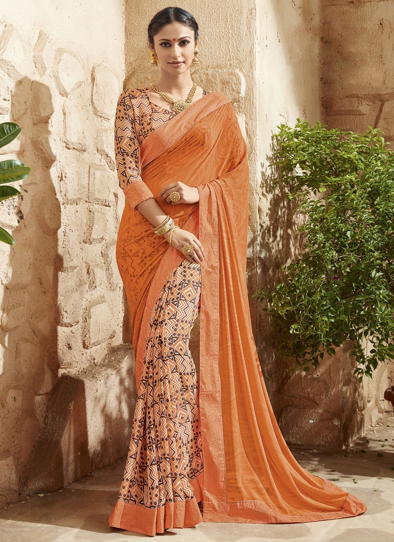 Sophisticated Digital Print Work Coral Color Half N Half Party Wear Saree