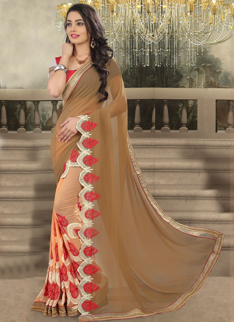 Sophisticated Embroidery And Sequins Work Half N Half Designer Saree
