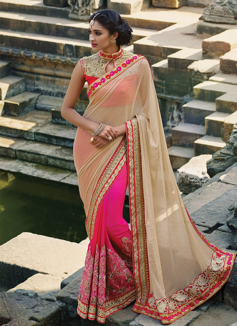 Sophisticated Embroidery Work Half N Half Designer Saree