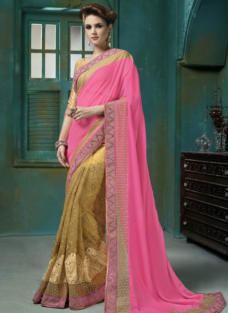 Sophisticated Embroidery Work Half N Half Wedding Saree