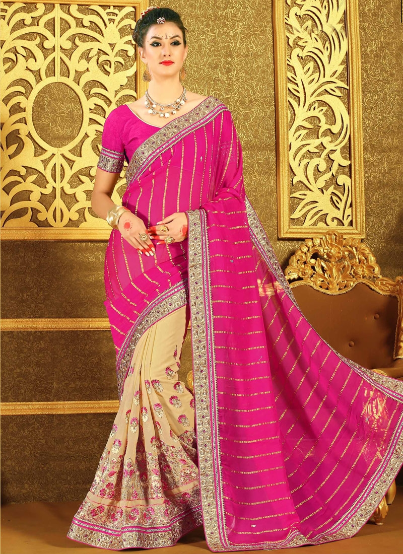 Sophisticated Floral And Lace Work Half N Half Designer Saree