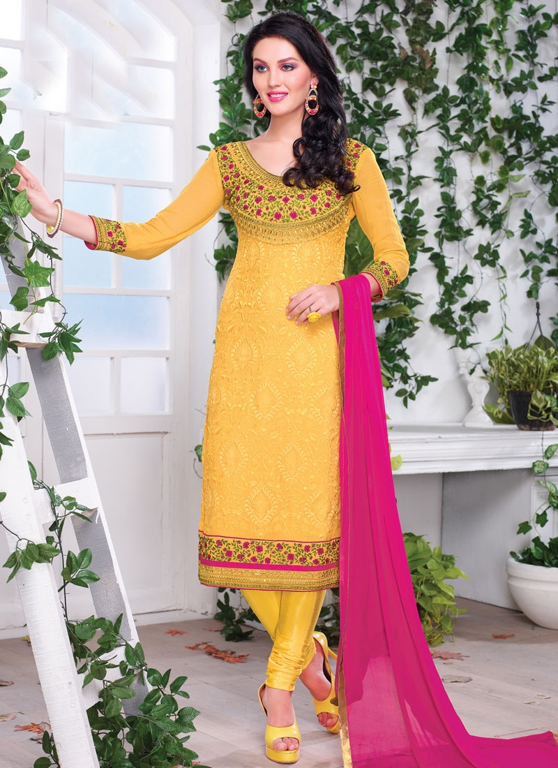 Sophisticated Floral Work Party Wear Salwar Kameez