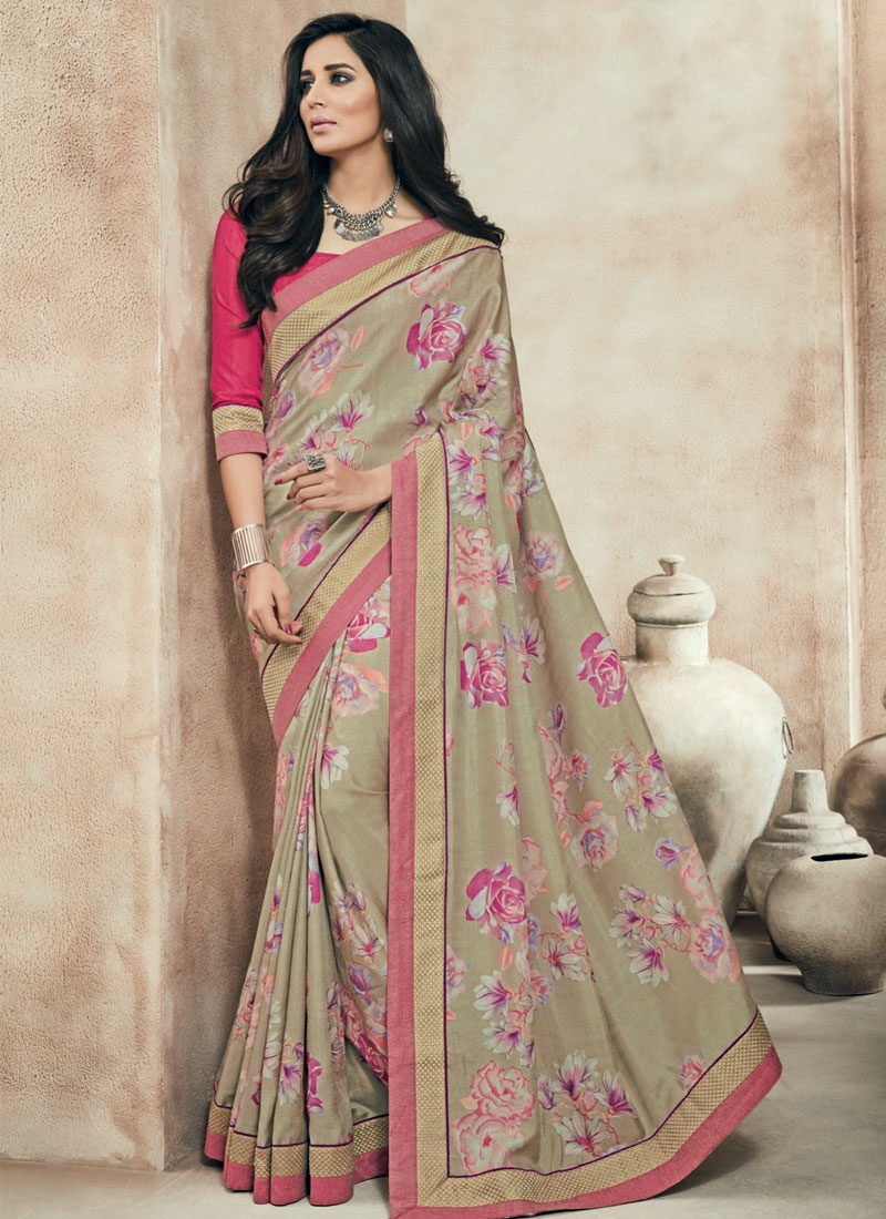 Sophisticated Lace Work Beige Color Party Wear Saree