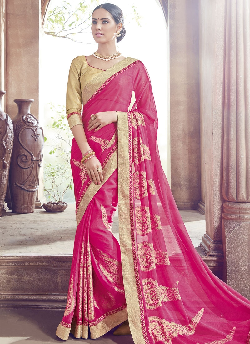 Sophisticated Lace Work Faux Chiffon Party Wear Saree