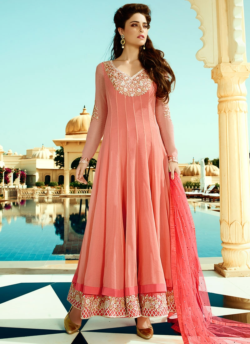 Sophisticated Lace Work Floor Length Wedding Salwar Kameez