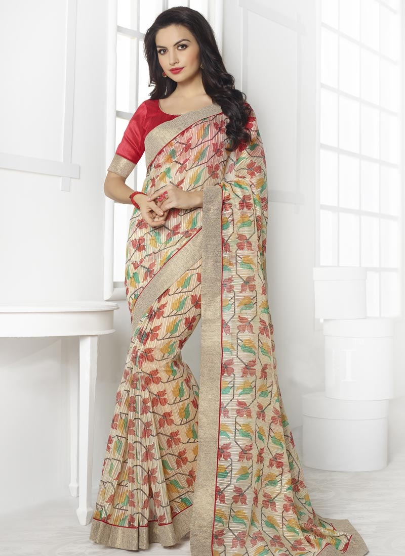 Sophisticated Lace Work Linen Casual Saree