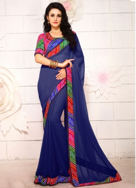 Sophisticated Lace Work Navy Blue Color Casual Saree