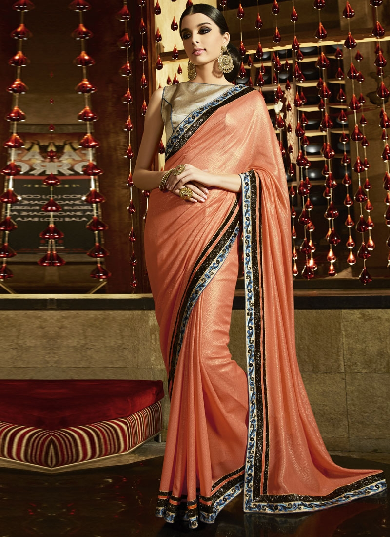 Sophisticated Lace Work Party Wear Saree