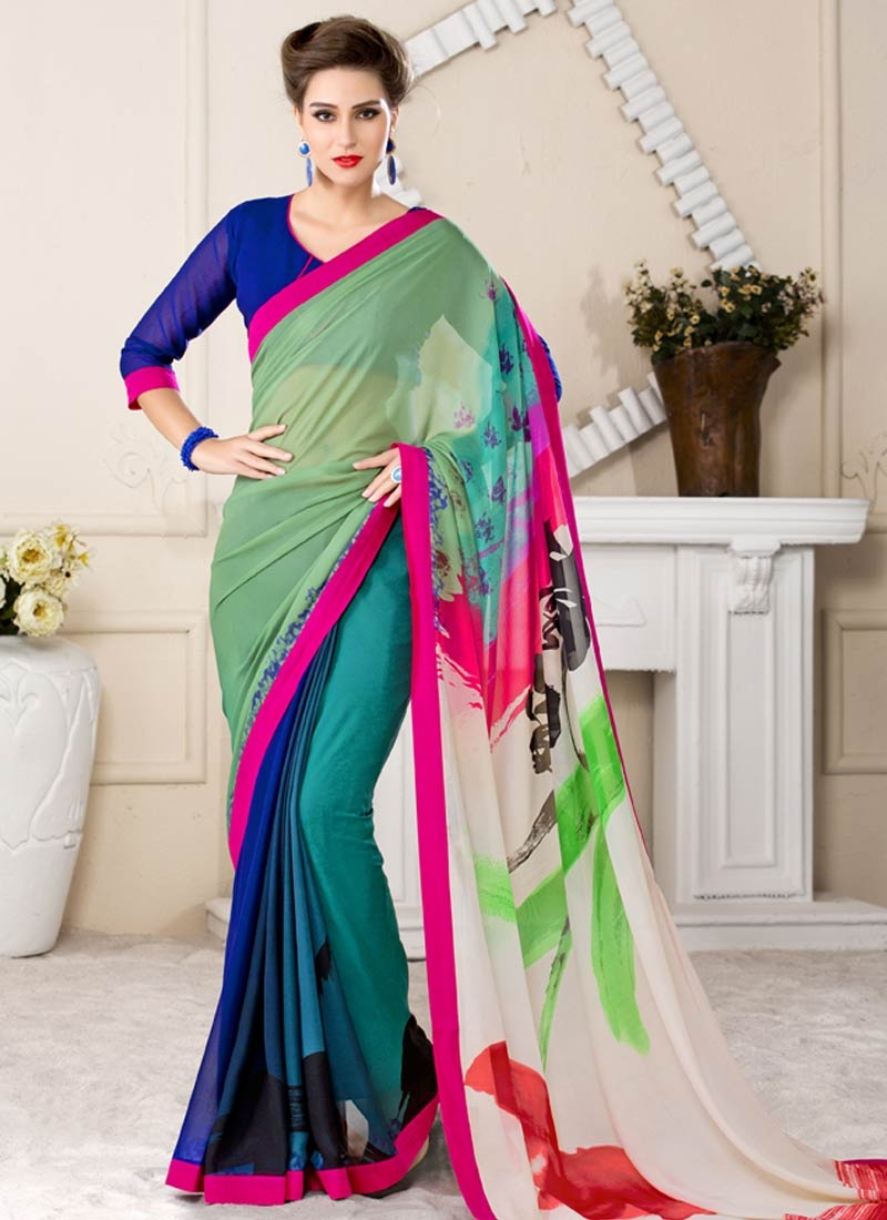Sophisticated Multi Color Lace Work Casual Saree
