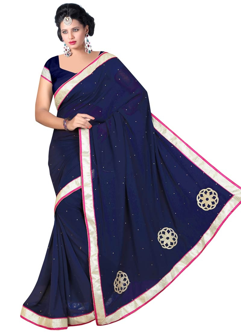 Sophisticated Navy Blue Color Casual Saree