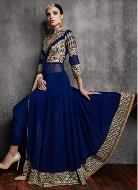 Sophisticated Navy Blue Color Pant Style Designer Salwar Suit