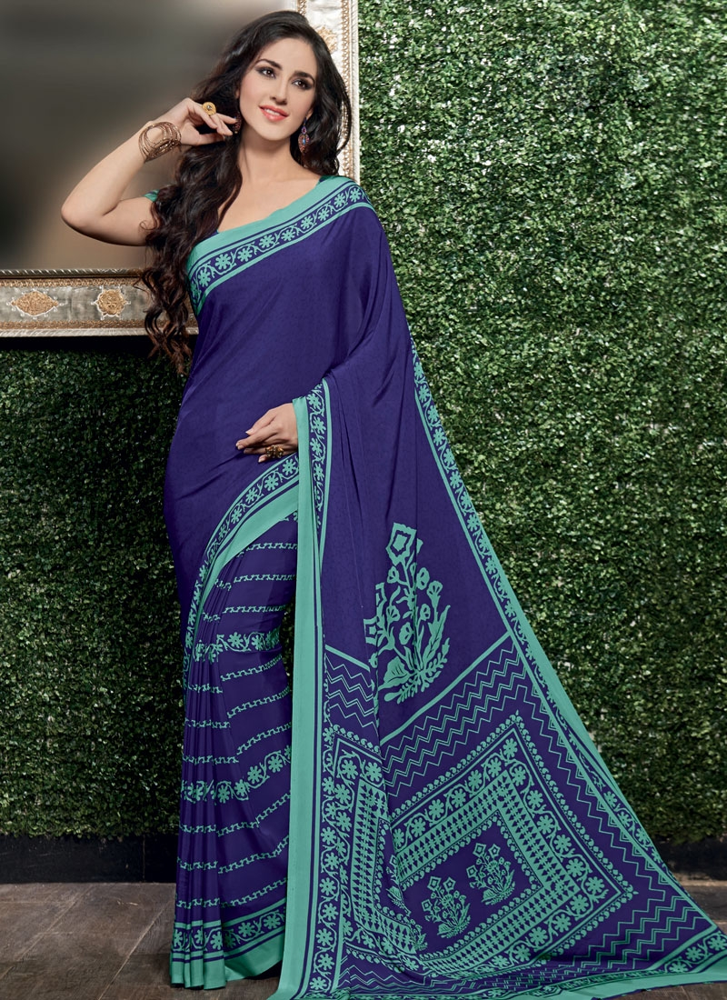 Sophisticated Navy Blue Color Printed Casual Saree