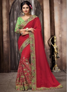 Sophisticated Net Beads Work Contemporary Saree