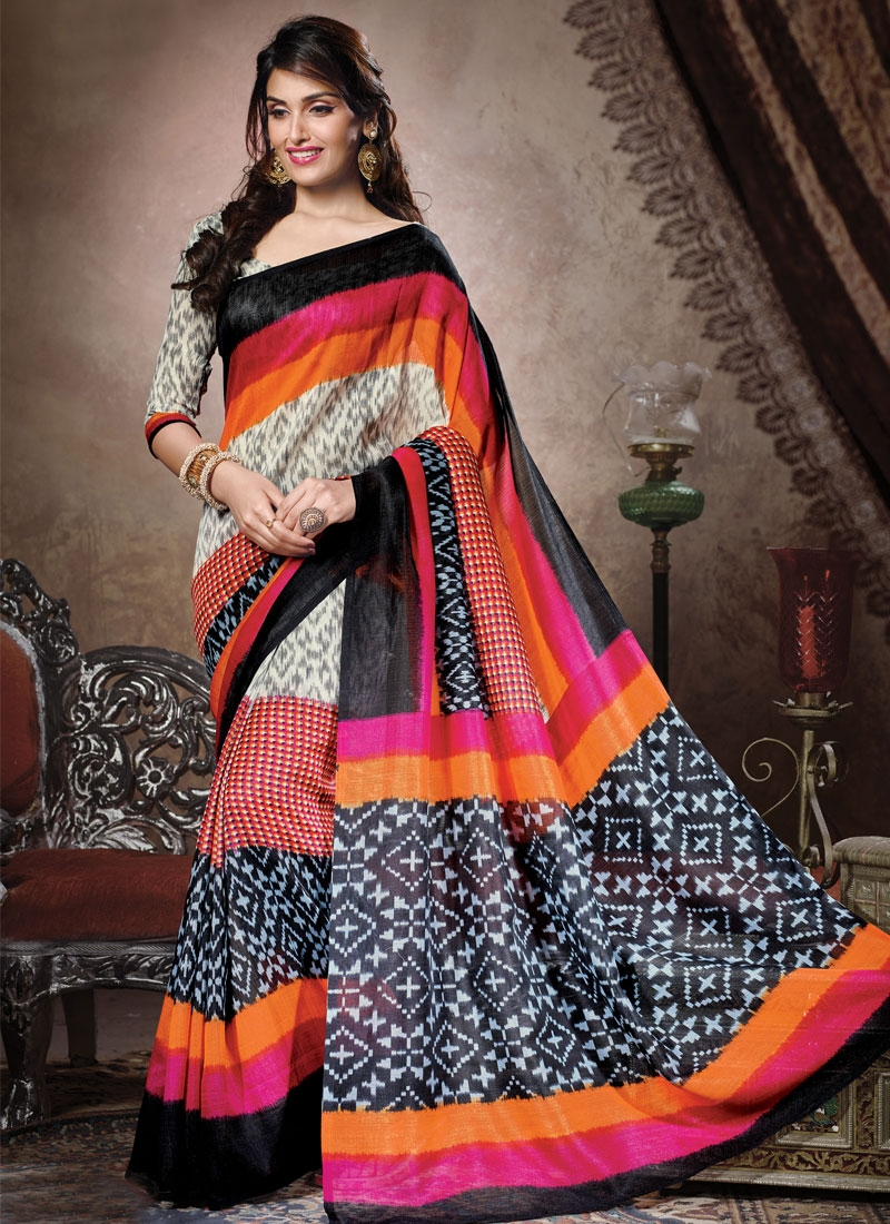 Sophisticated Off White And Black Color Casual Saree