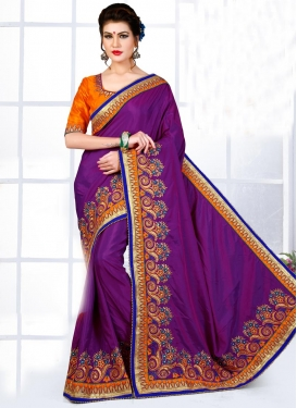 Sophisticated Orange and Purple Contemporary Saree For Bridal