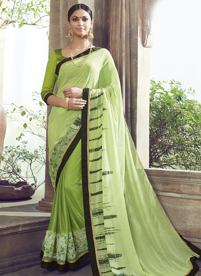 Sophisticated Patch Border Work Party Wear Saree